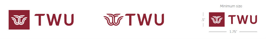 Three TWU logos with logo mark and letters TWU