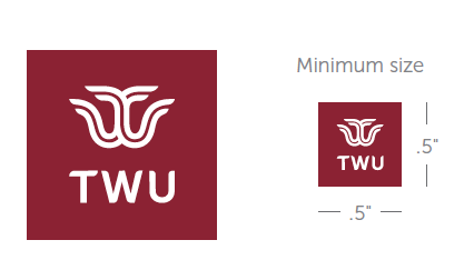 TWU logo mark and words TWU in maroon box