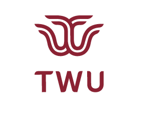 TWU logo mark and words TWU in white square