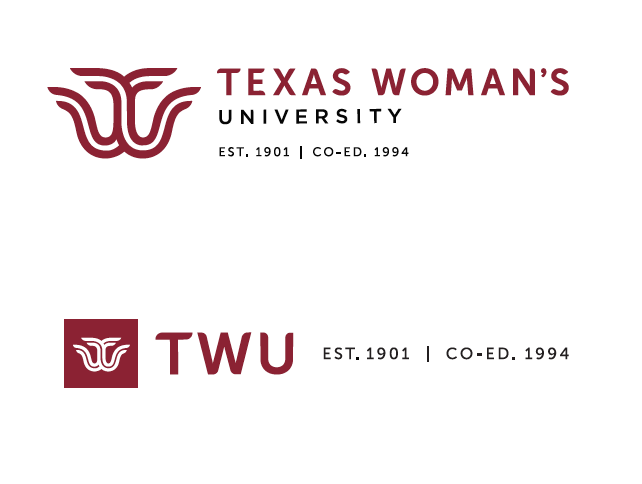 TWU logos with words Est. 1901. Co-ed 1994