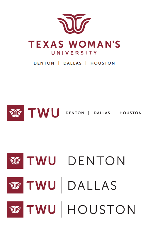 TWU logos with words Denton Dallas Houston