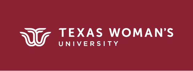 TWU logo mark and words Texas Woman's University in maroon box
