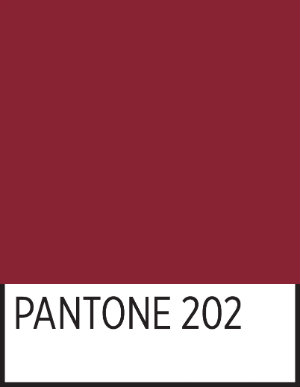 A square of TWU's official maroon in Pantone 202