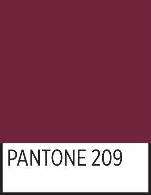 A square of TWU's official maroon in Pantone 209