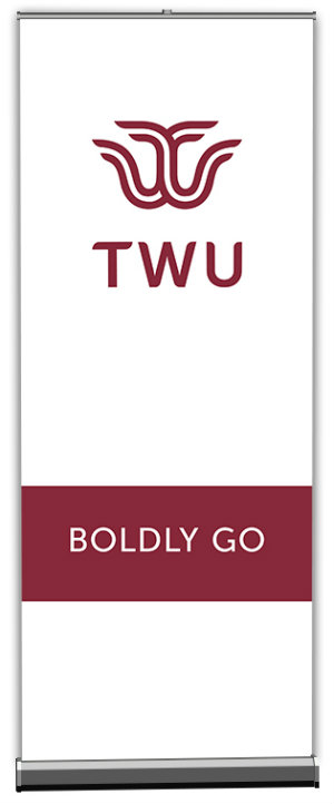 White TWU banner with words Boldly Go in a maroon band along the lower third of the banner