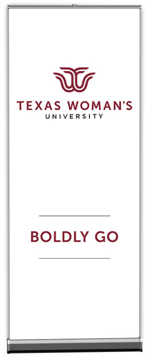 White TWU Banner with the words Boldly Go in maroon across the lower third