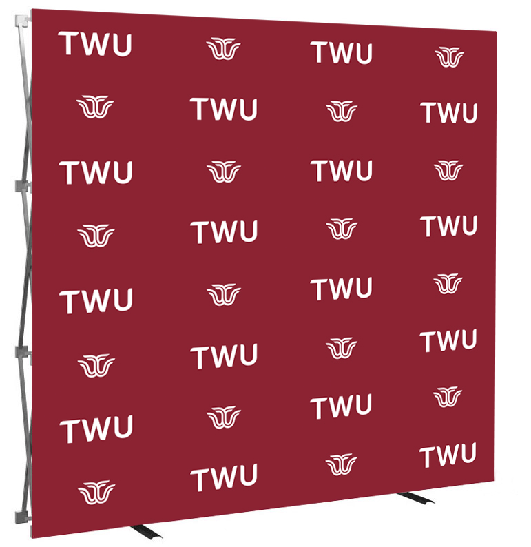 Maroon backdrop with white TWU logo printed on it