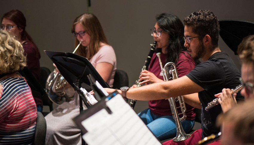 TWU students perform in an instrumental ensemble