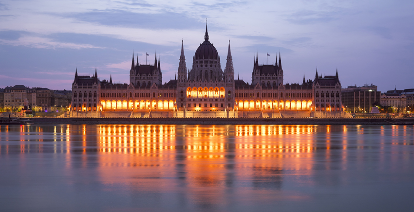 Photo of the Hungarian Parliament Building at sunset