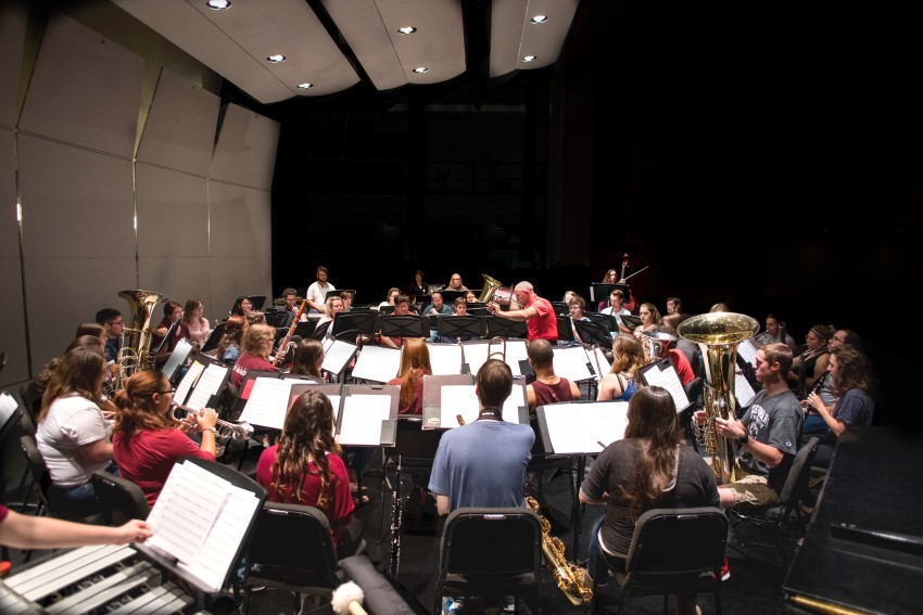 Photo of a TWU instrumental ensemble rehearsing in Margo Jones