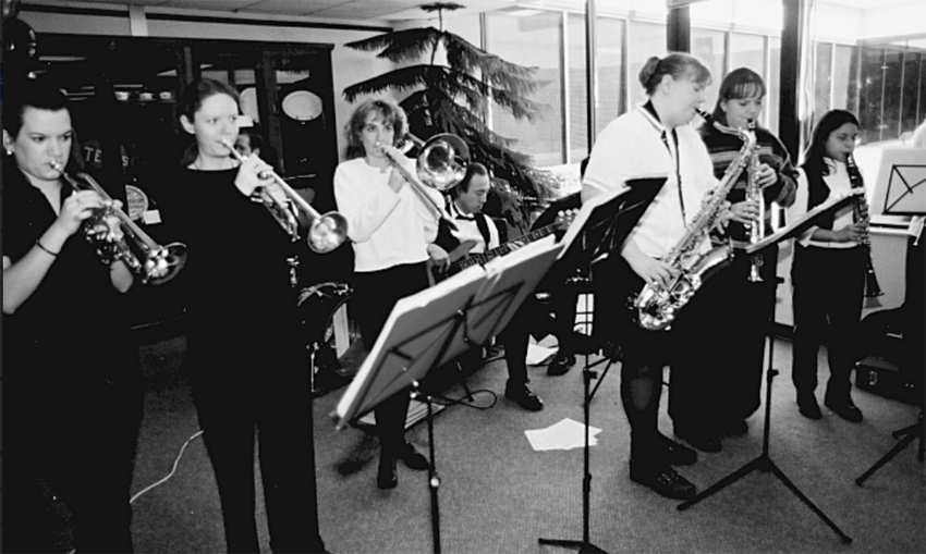 Black and white photo of the TWU Band.