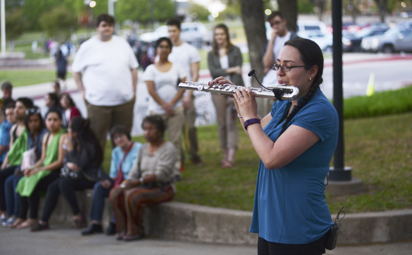A music student performs in front of a live audience at TWU's annual ArtsWalk.