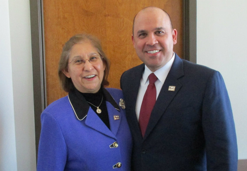 TWU new Board Chair Anna Maria Farias and Vice Chair Dr. Nolan E. Perez.