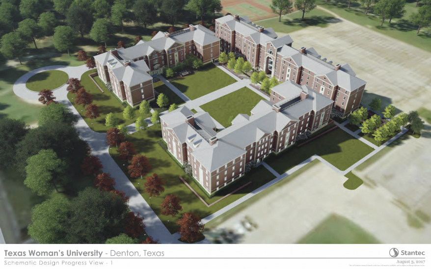 A draft rendering of TWU's new student housing