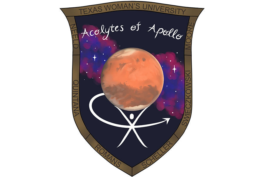 TWU team mission patch designed by TWU graphic design major Skyler Brasuell. The patch reads 'Acolytes of Apollo' with a star field background and a red planet in the center.