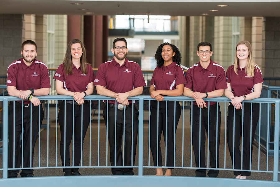 Six TWU Kinesiology seniors make up the Acolytes of Apollo who are competing in NASA's design challenge showcase in April 2019.