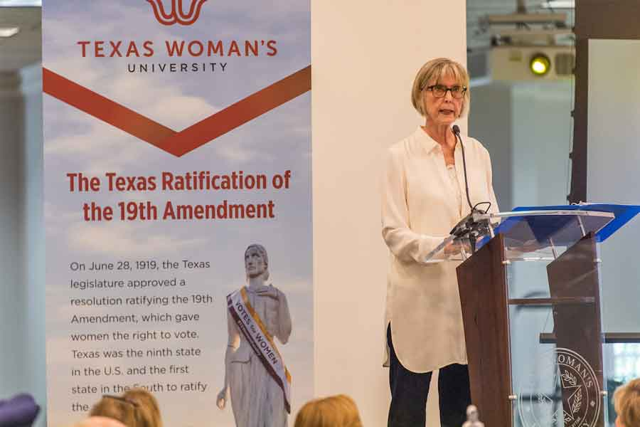 TWU held a celebration of the Texas ratification of the 19th Amendment on June 13 with presenter Dr. Nancy Baker Jones.