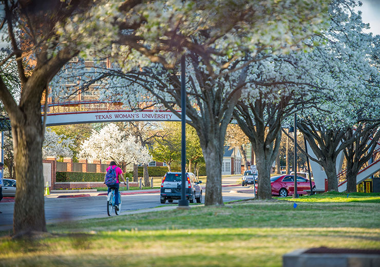 A student riding a bike along Bell Avenue during sunset on TWU's Denton Campus.
