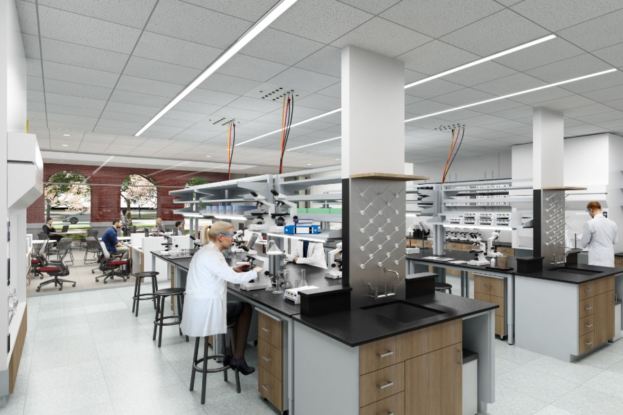 Artist rendering of chemistry lab in Texas Woman's University's new science research center currently under construction