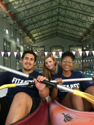 Joe Tello (left) with fellow students Laura Hickman (center) and Kaira Edwards (right) kayaking.