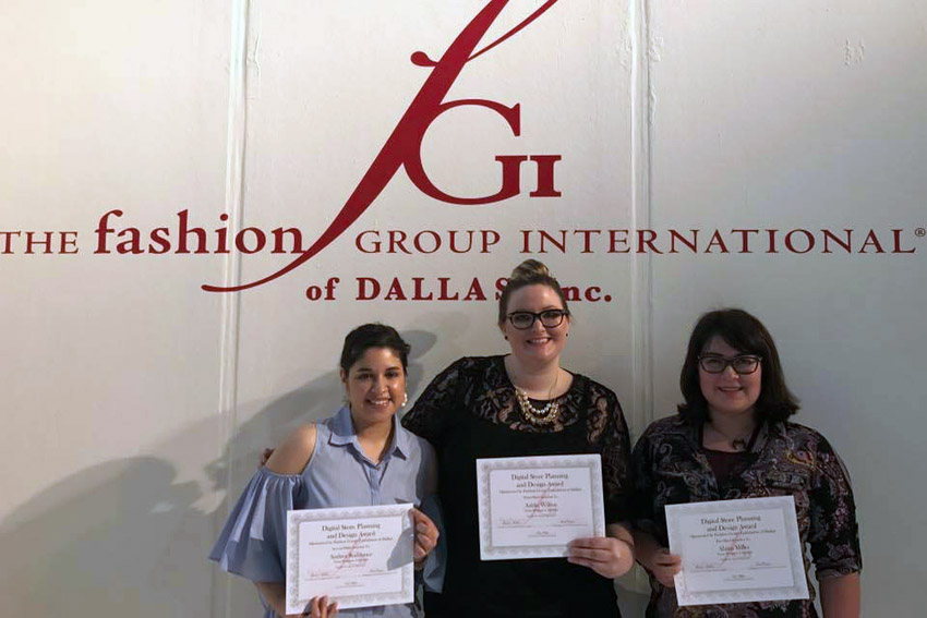 From left: TWU fashion merchandising students Andrea Rodriguez, Ashlie Wilson and Alaina Miller. Photo by Anna Magie.