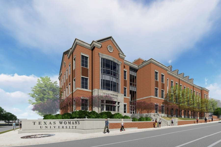 Artist rendering of Texas Woman's University's new science research center - Bell Ave.