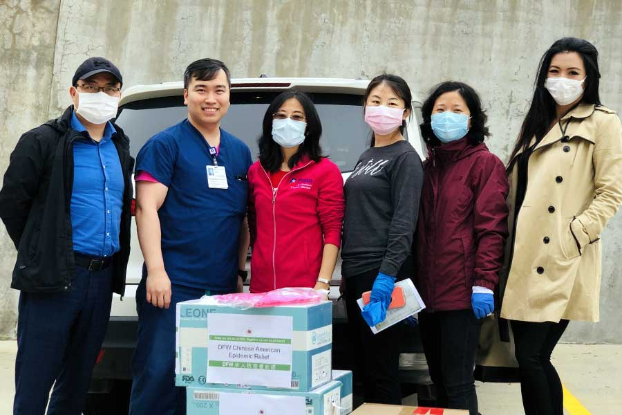 Dr. Liu and others deliver PPE
