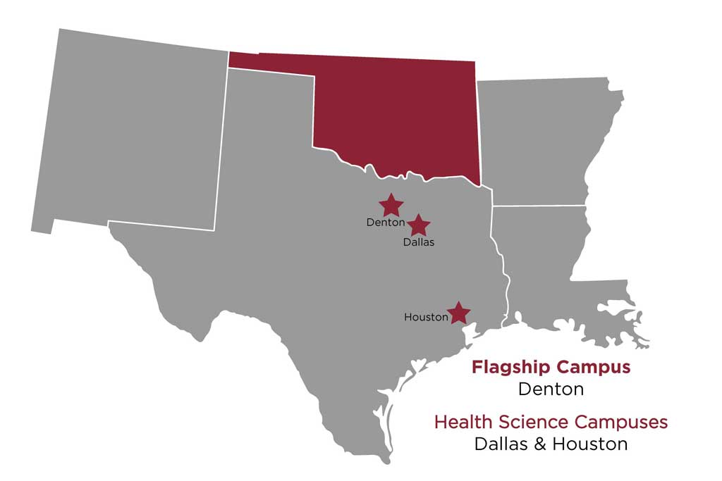 A map of Southern US states with Oklahoma highlighted in maroon and TWU's Texas campuses marked.
