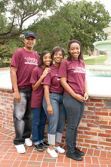 TWU Family by the fountain on the Denton Campus