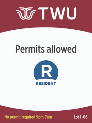 "A mock-up of a street sign with the TWU logo and a large ""R-Resident"" to designate resident parking."