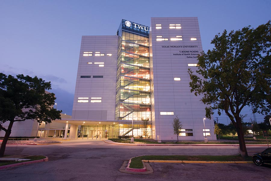Picture of the Dallas campus at night.