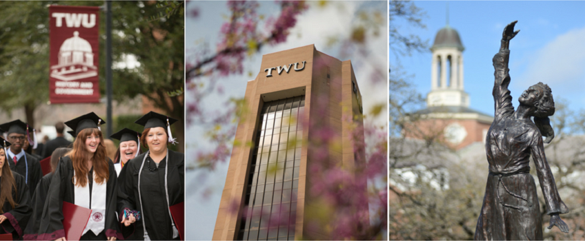 A collage of pictures from the TWU Denton campus
