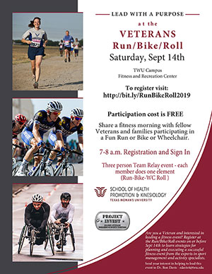 2019 Run Bike Roll Event flyer. Content reproduced as text on page.