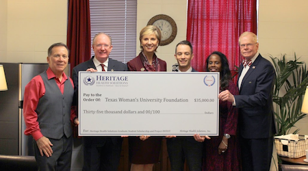 Heritage Health Solutions, Flower Mound,TX presents a donation to TWU's Project INVEST for $35,000