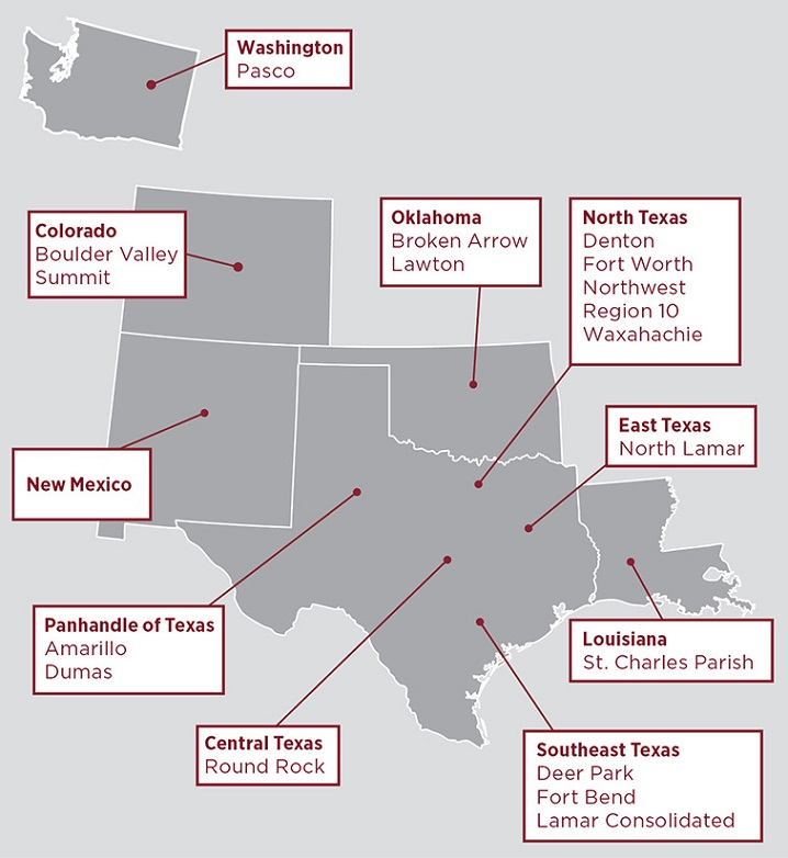 A map of TWU's six state Reading Recovery network with the site locations in each state.