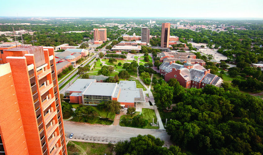 Aerial view of Texas Woman's University in Denton, Texas.