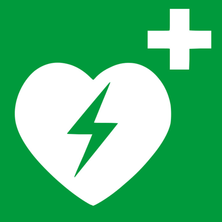 White heart with and a green lighting bolt in the middle and a plus symbol on the right corner.