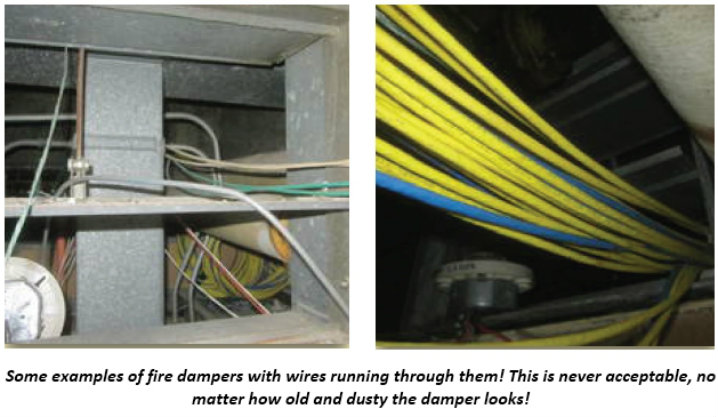 Two examples of fire dampers with wires running through them improperly.
