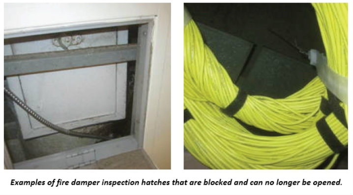 Two examples of a fire damper hatch and wires properly installed.