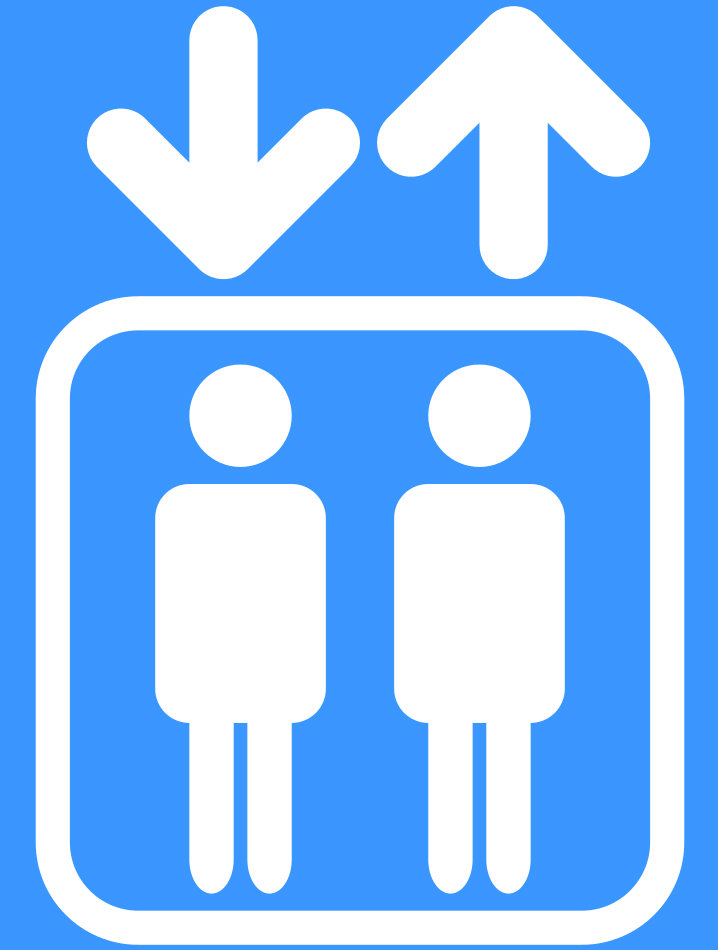 Blue and white symbol with two figures in a box with two arrows pointing up and down.