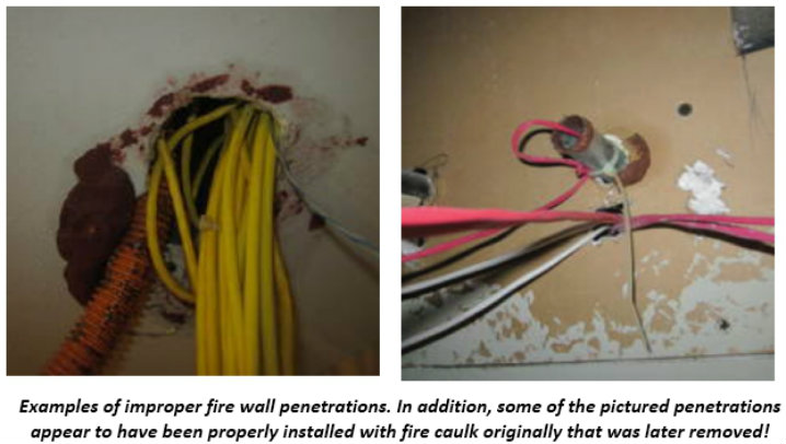 First picture has improper wires coming out of a wall. Second picture has the proper way for wires coming out of the wall.