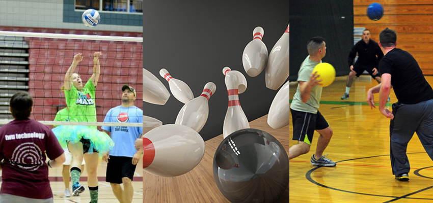 Collage of bowling, volleyball, and dodge ball players in action