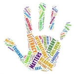 A handprint formed from words including: literacy matters, evidence, reading, library, children, etc
