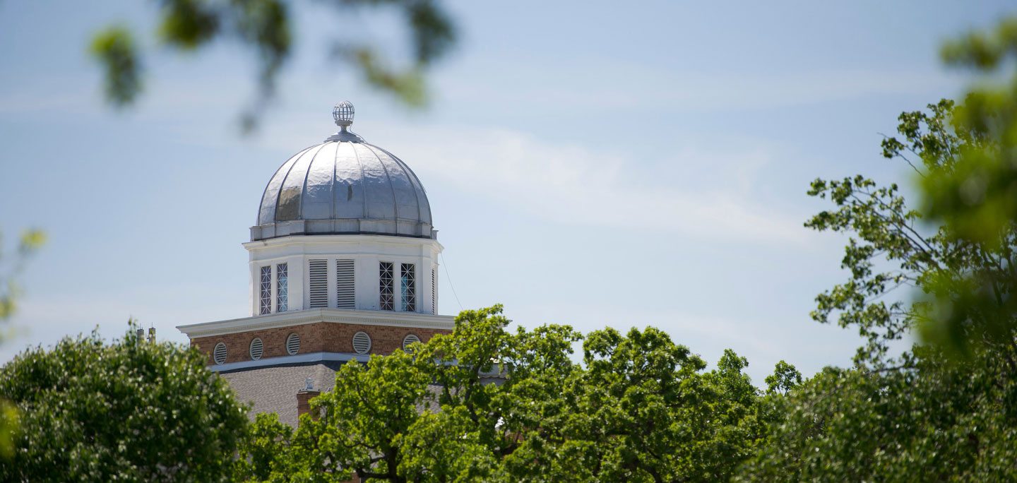The Old Main Building dome in the sunlight