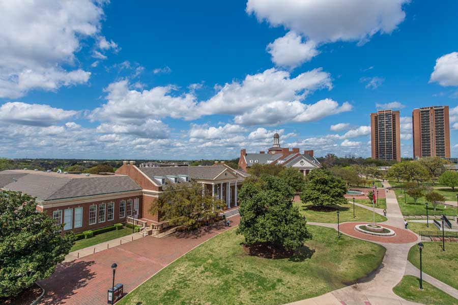 An aerial view of Hubbard Hall and the Library on TWU's Denton campus,