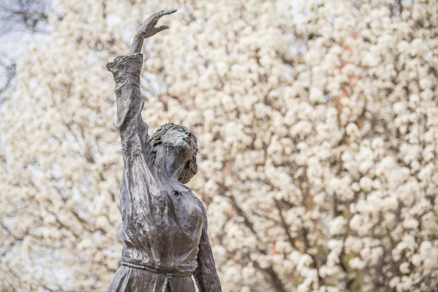 TWU's She Gave Us Wings sculpture stretches an arm toward the sky against a background of white blossomed trees in full bloom