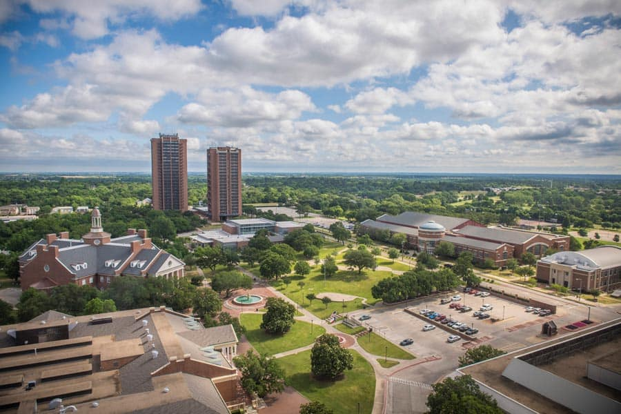 TWU Denton campus skyline, south facing northeast