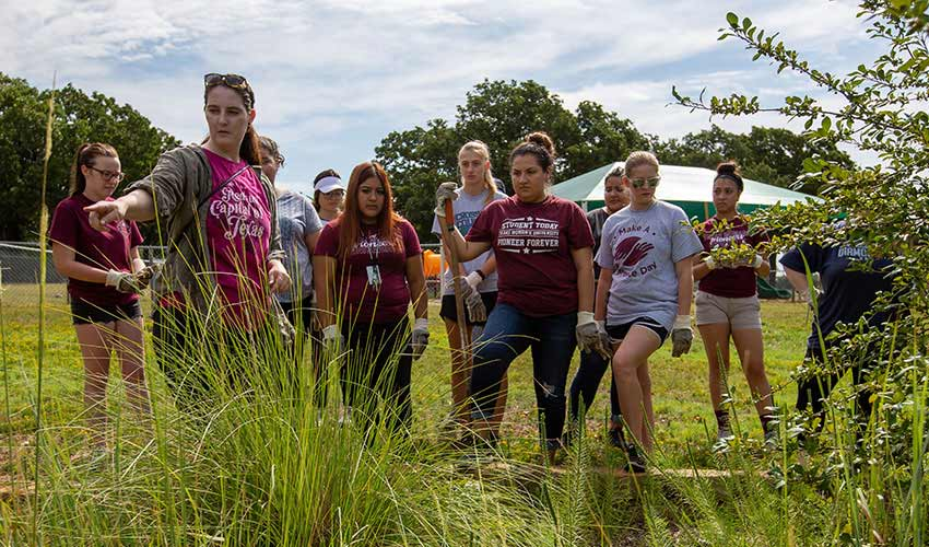 TWU students volunteering at city of Denton garden.