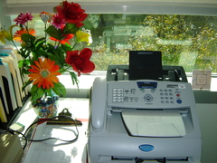 A fax machine with flowers to the left of it.