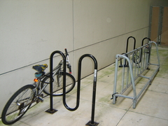 Bicycle locked to bicycle rack on the TWU Houston campus